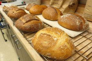 Test bread loaves in the Washington State University bread lab