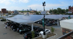 Whole Foods parking area with Manhattan skyline